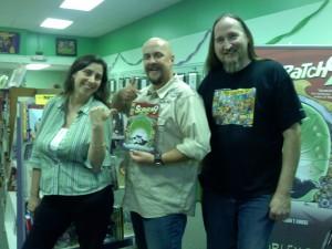 Katie Merritt, Rob Worley and Dan Merritt at Green Brain Comics