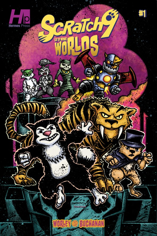 Kevin Eastman Variant Cover for Scratch9: Cat of Nine Worlds #1