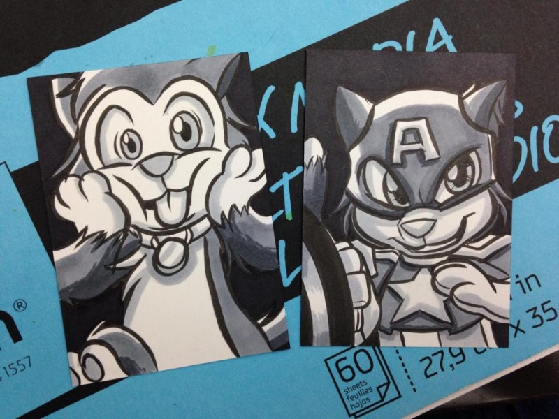 Silly Scratch9 and Cat'n America Sketch cards by Joshua Buchanan
