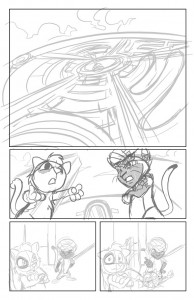 Scratch9: Cat of Nine Worlds page - rough pencils by Joshua Buchanan