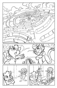 Scratch9: Cat of Nine Worlds page - inks by Joshua Buchanan
