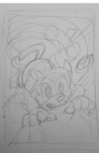 Scratch9: Cat of Nine Worlds cover #1 - rough pencils by Joshua Buchanan