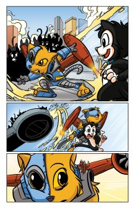 Scratch9: Cat of Nine Worlds page - Color by Digikore over art by Joshua Buchanan